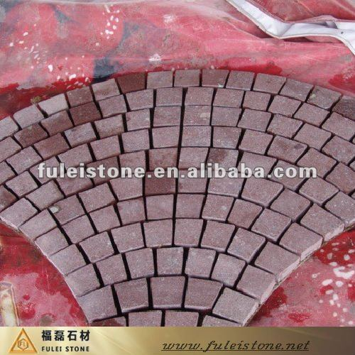 red granite paving bricks
