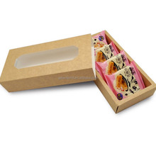 Custom Pull out drawer box food pastry gift packaging kraft box with clear PVC window