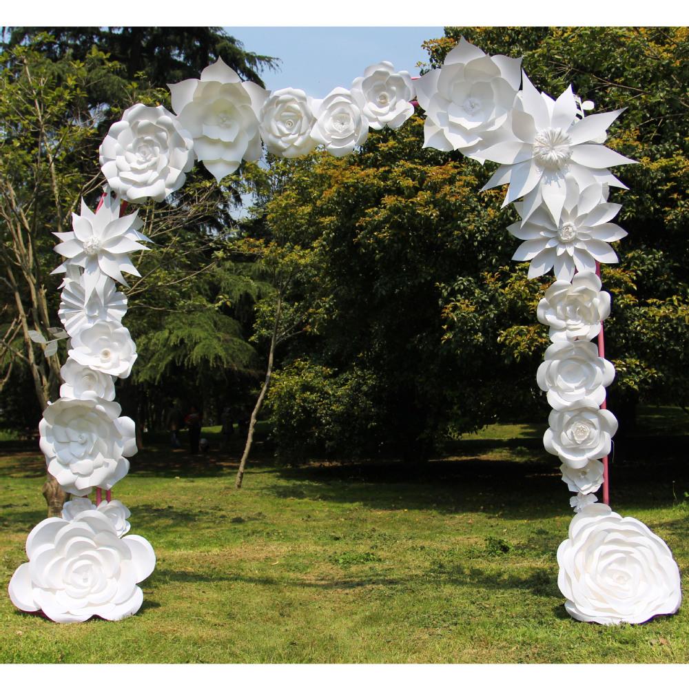 White Handmade Paper Flower Wedding Arch