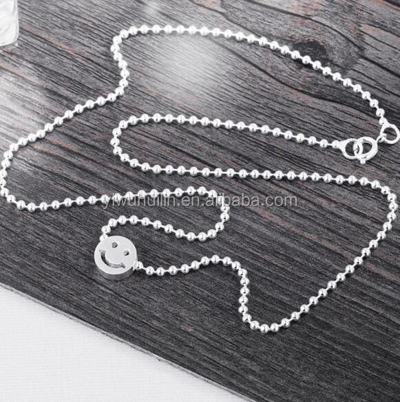 YFY154 Yiwu Huilin Jewelry Face smile Emoji Buddha beads teen silver necklace ornaments