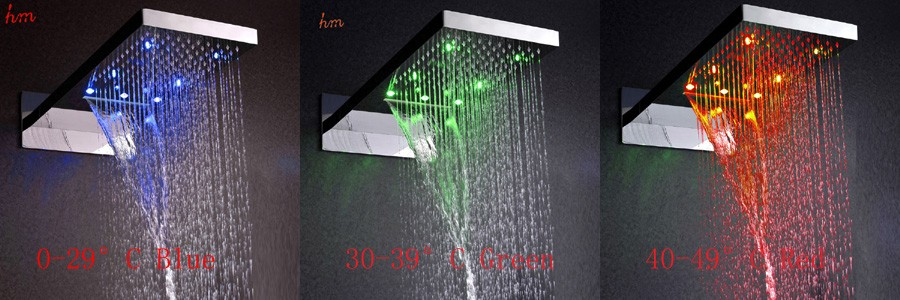 Romantic,304 stainless steel, wall mounted waterfall and rainfall led shower set