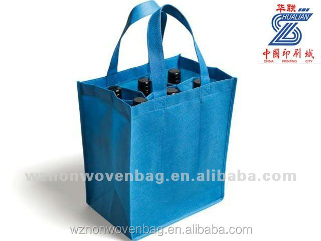 eco-friendly non woven 6 bottle wine tote bag