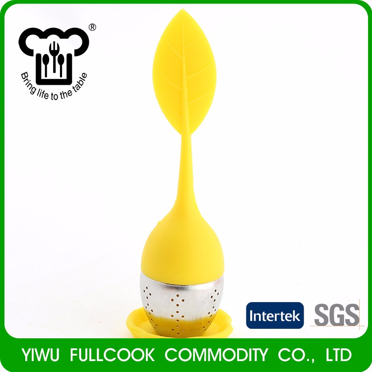 Hot style silicone tea strainer grid tea infuser with leaf grip tray