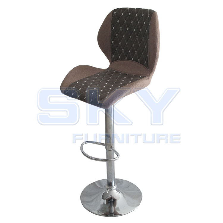 SKY-8655 adjustable stainless steel base craft PU fabric Draughtsman chair bar stool bar chair