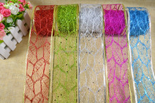 Wired deco random mesh ribbon for christmas tree decoration