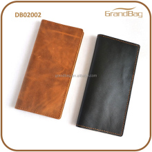 Guangzhou Fashion Vintage Casual Style Classic Simple Young Men Crazy Horse Leather Long Wallet Bi-fold Wallet