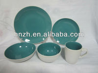 Blue and White ceramic stoneware two tone color glaze dinner set/restaurant tableware