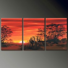 hand painted landscape elephant oil painting new products