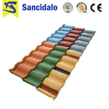 Low price colorful zambia stone coated metal roof tile
