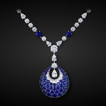 king blue cubic zircon pendant wedding pageant natural pearls necklace