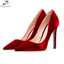 wholesale velvet dark red pump high heels dress shoes for womens dance party wedding big size shoes online