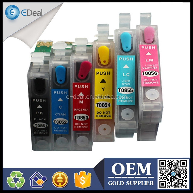T0851-T0856 inkjet empty ink tank for Epson 1390 T60 refill ink cartridge with auto reset chip