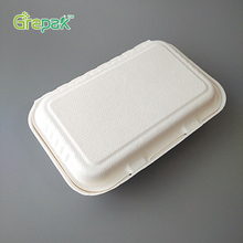 1000ml disposable biodegradable clamshell 2 compartment microwave food container
