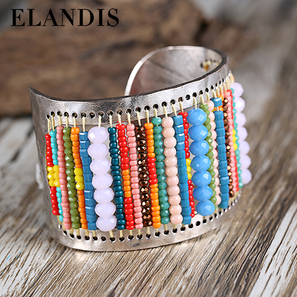 E-ELANDIS handmade beads cuff bangle colorful crystal opening wide bangles for women hand jewelry bohemia brazaletes BL07430