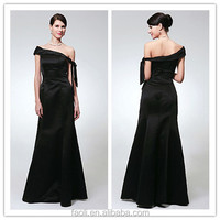 Sexy Black Satin Long Sheath Frock One Shoulder Ribbon Floor length Alibaba Evening Dresses