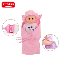 zhorya wholesale soft material 12 inch small lovely reborn cry pee alive baby doll with carrier toys