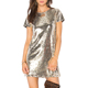 YL Cheap Fashion New Women Gold Sequin Mini Dress Young Girls Ladies Short Sleeve O Neck Sexy Casual Dress for Wholesale