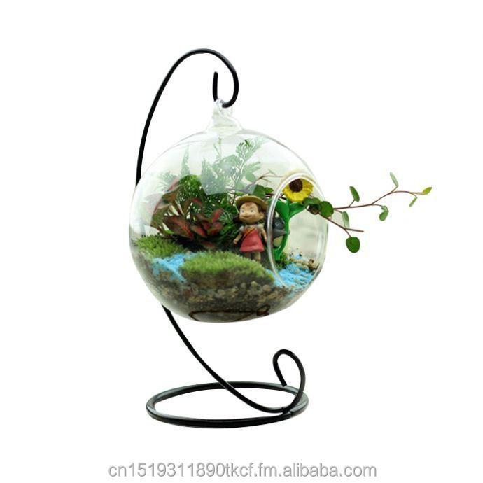 planta de vidrio redonda con agujeros flor colgante envase florero decoracin de la boda