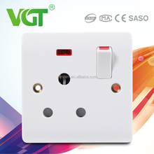 New design switches and sockets manufacture of 1 gang 15A switched socket with neon