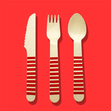 Color Printed Wood Knife Fork Spoon, Wooden Utensils, Wooden Cutlery