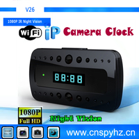 hotest wholesale mini night vision table clock h.264 WIFI digital video/wireless recorder indoor camera