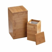 Natural Square Bamboo Canister with Lid bamboo jar