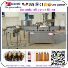 Automatic high density glass dropper bottle essential oil filling machine line with piston pump and PLC control