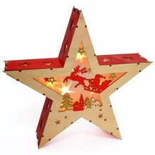 Lighted hanging Wooden Red Pink Green Champagne Glitter Color Star Shaped Led Light Christmas Decoration