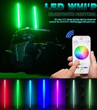Top bluetooth RGB safety lighted whip &flag for ATV UTV offroad buggy RGB led whip light glow whip light