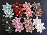 sweet chiffon flower with pearl for clips, mini flower hair clip