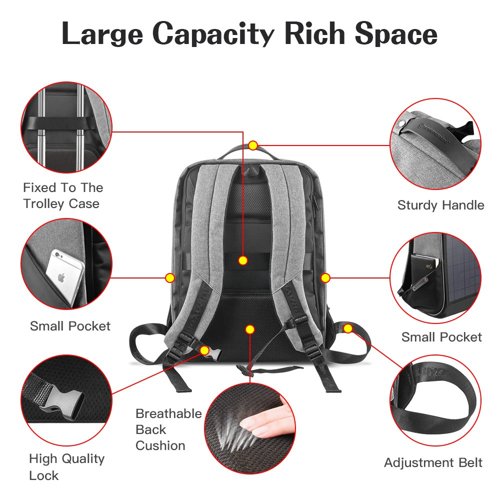10w solar panel laptop backpack Waterproof and Anti-Theft, perfect for carrying books or a power bank and more, Great for travel