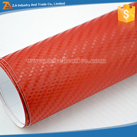 Car Wrap And Car Sticker Removable PVC Texured Vinyl Film Red Adhesive 3D Carbon Fiber Vinyl