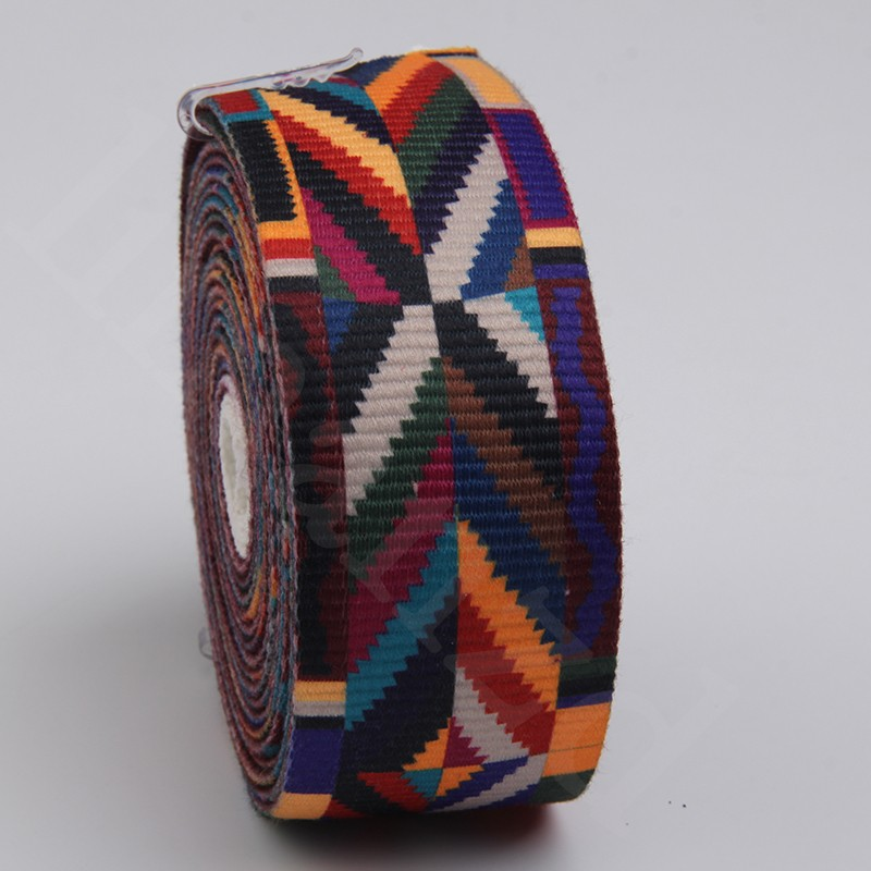 New arrival 50mm flok-custom ethnic style webbing printed acrylic cotton webbing with printing for bag strap