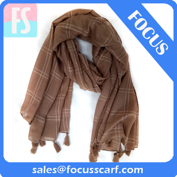 Checked Plaid Scarf shawl with fringe