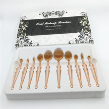 Private Label Cosmetics Makeup 10pcs Toothbrush Set Make Up Brushes Kit Rose Gold Oval Makeup Brush