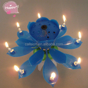 Colorful Rotating Lotus Happy Birthday Candle With Music Cake 8 Small Candles