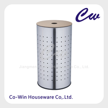 Durable Round Standing Stainless steel Laundry Basket with Lid - Metal/Wood/Plastic Laundry Bin LB0005M