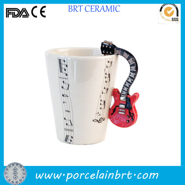Innovative design ceramic guitar mug