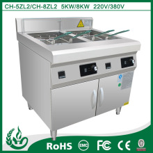 Freestanding industrial electric fryer for commercial kitchen
