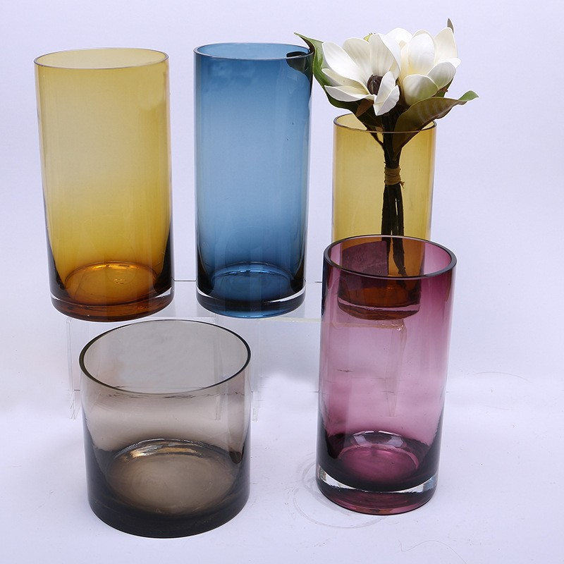 Cheap wholesale tall clear glass vases spray cylinder