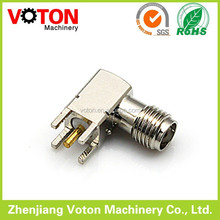 SMA female right angle solder for PCB sma female gender connector nikel pleated rf connector