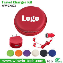 Big Power earphone bag 5v Travel Charger Kit for Mobile Phone