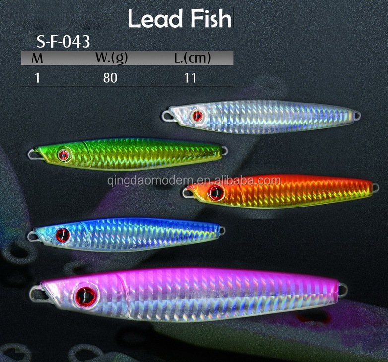 F-043 lumious color metal lure salt water fishing tackle wholesale