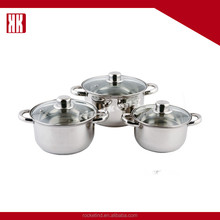 Fast Boiling Cooking Pot 3pcs Stainless Steel Cookware Set