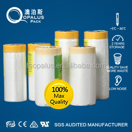 Car Shielding Spraying Plastic Pre-Tape Masking Film For Painting