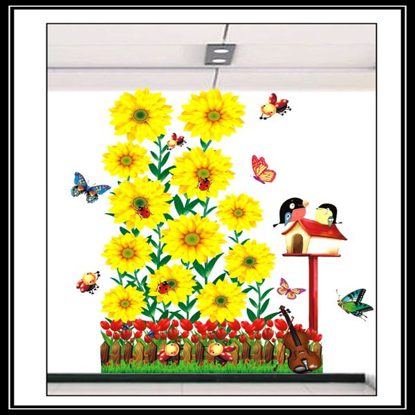 Hottest Sale Vinyl Removable Home Decal Pretty Decor Art PVC Wall Sticker Sunflower &Butterfly High Quality