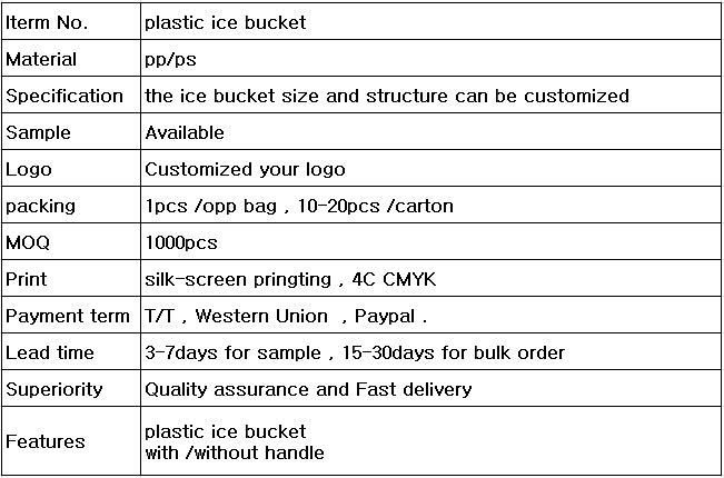 high grade custom logo plastic budweiser ice bucket