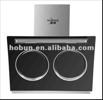 Range hood,tempered glass panel, stainless steel backboard,double motors