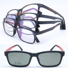 flexible mamory ULTEM trendy opitcal eyeglasses frames square shape with magnetic clip polarized sunglasses lens