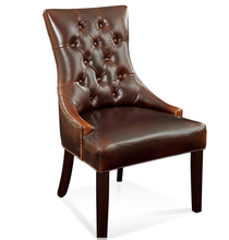 Button Tufted Brown Leather Chairs